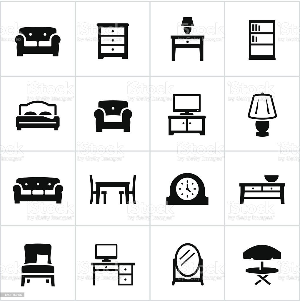 Vector set of furniture icons vector art illustration