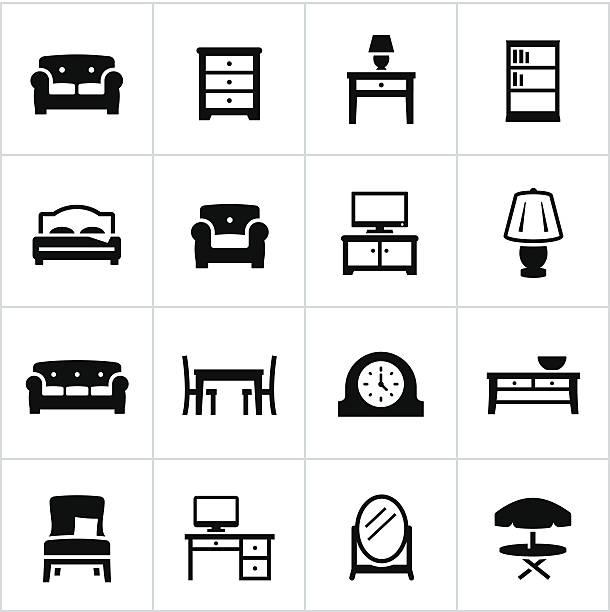 Vecteur Ensemble d'icônes de meubles - Illustration vectorielle