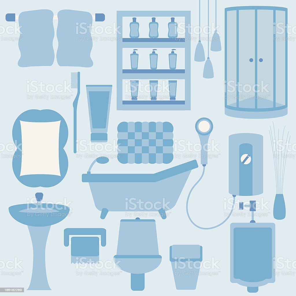 Vector set of furniture in bathroom royalty-free stock vector art