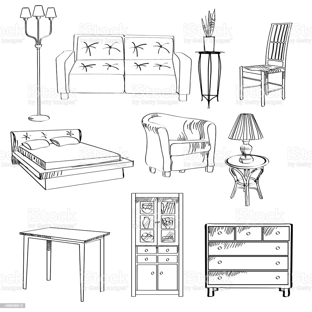 Nice Vector Set Of Furniture Sketch Royalty Free Stock Vector Art