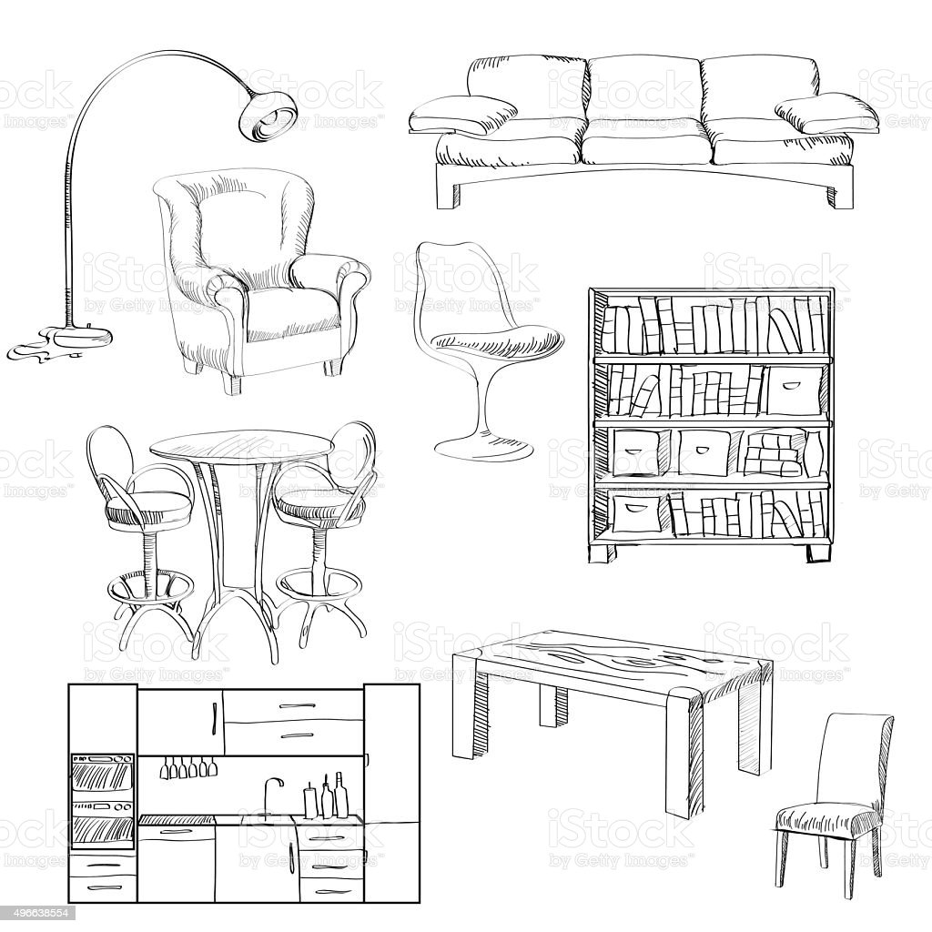 Vector Set Of Furniture Sketch Royalty Free Stock Vector Art