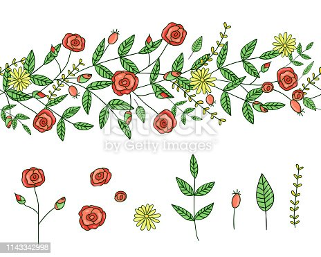 istock Vector set of garden plant design elements and pattern brush with stylized forget-me-not, basil, oregano 1143342998