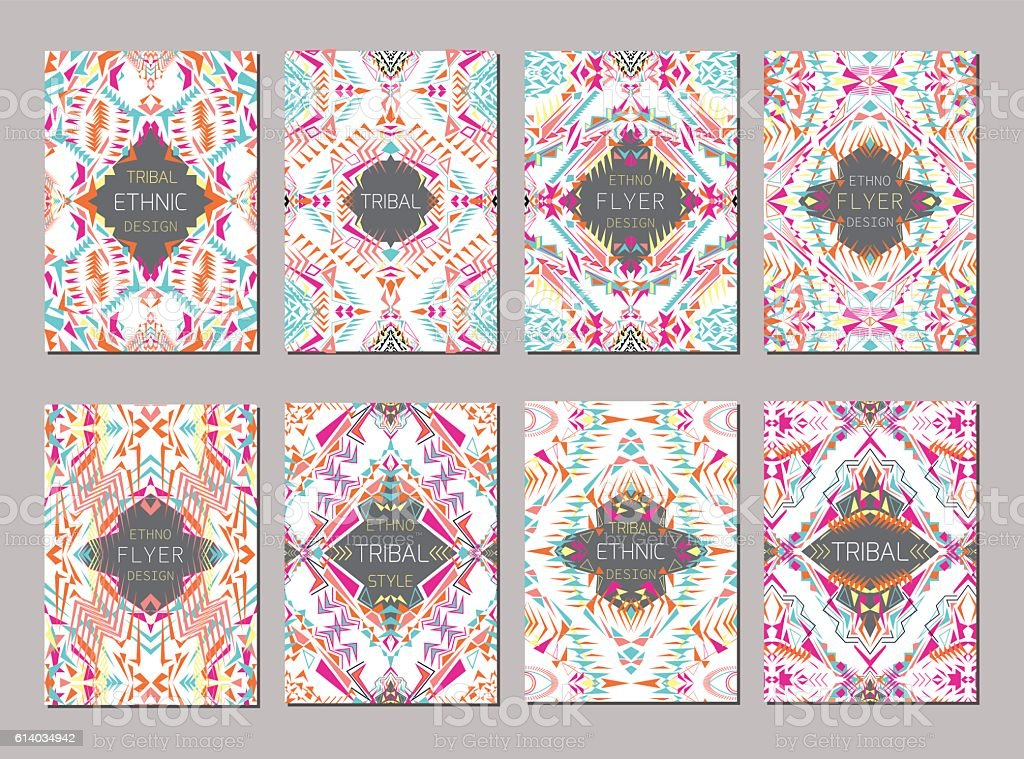 Vector set of geometric brochure templates for business and invitation vector art illustration