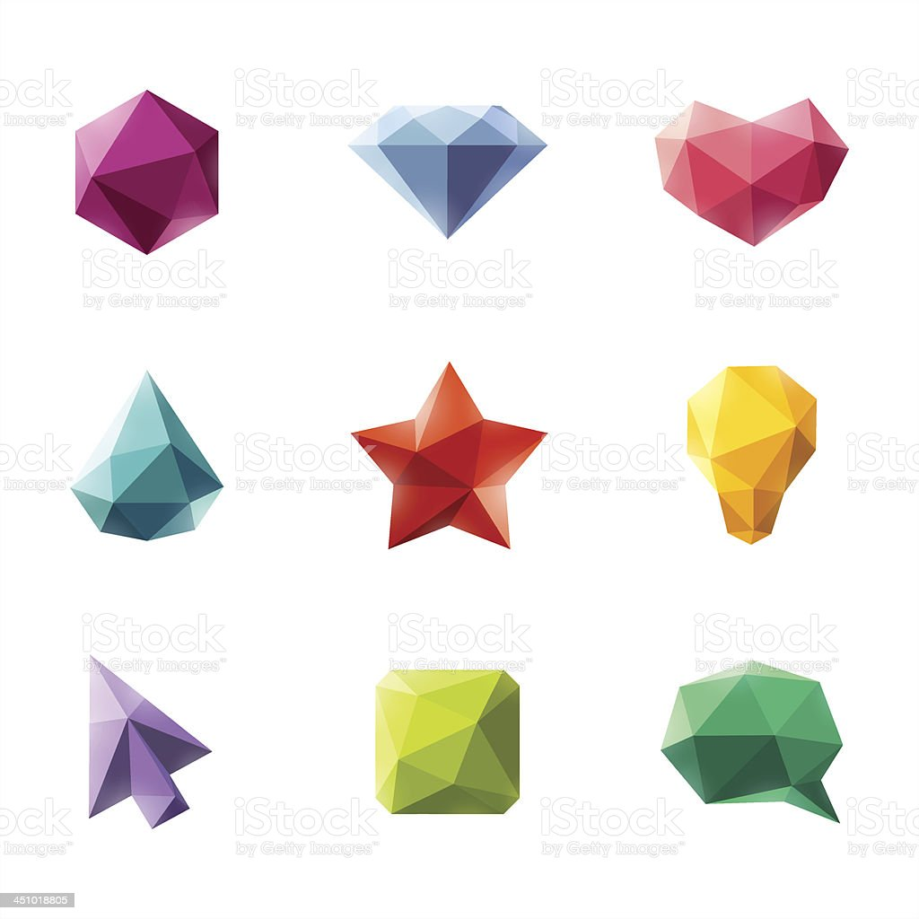 Vector set of geometric design elements vector art illustration
