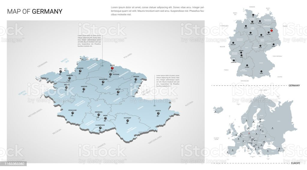 Country Of Germany Map.Vector Set Of Germany Country Isometric 3d Map Germany Map Europe