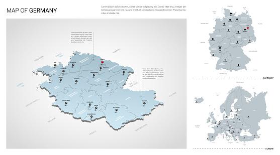 독일 국가의 벡터 세트입니다 등각 3d지도 독일지도 유럽지도 지역 주 이름 및 도시 이름 0명에 대한 스톡 벡터 아트 및 기타 이미지