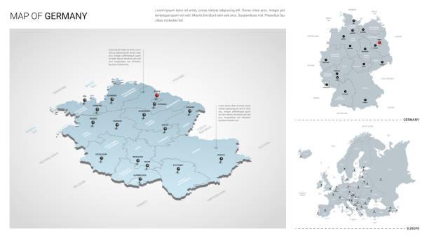 독일 국가의 벡터 세트입니다.  등각 3d지도, 독일지도, 유럽지도 - 지역, 주 이름 및 도시 이름. - 독일 stock illustrations