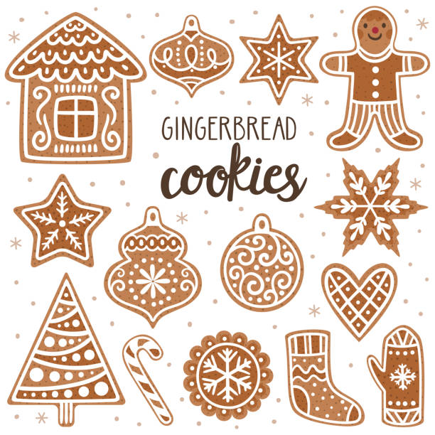 Vector set of gingerbread cookies: house, gingerbread man, stars, snowflakes, Christmas ornaments, sock, mitten, sugar cane and Christmas tree. Collection of homemade holiday cookies. New Year bakery. Vector set of gingerbread cookies: house, gingerbread man, stars, snowflakes, Christmas ornaments, sock, mitten, sugar cane and Christmas tree. Collection of homemade holiday cookies. New Year bakery. gingerbread man stock illustrations