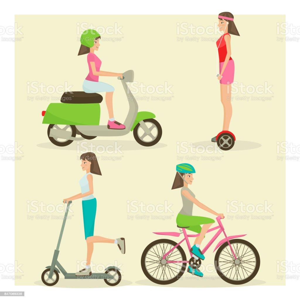 Vector set of girls riding modern street transport flat symbols vector art illustration