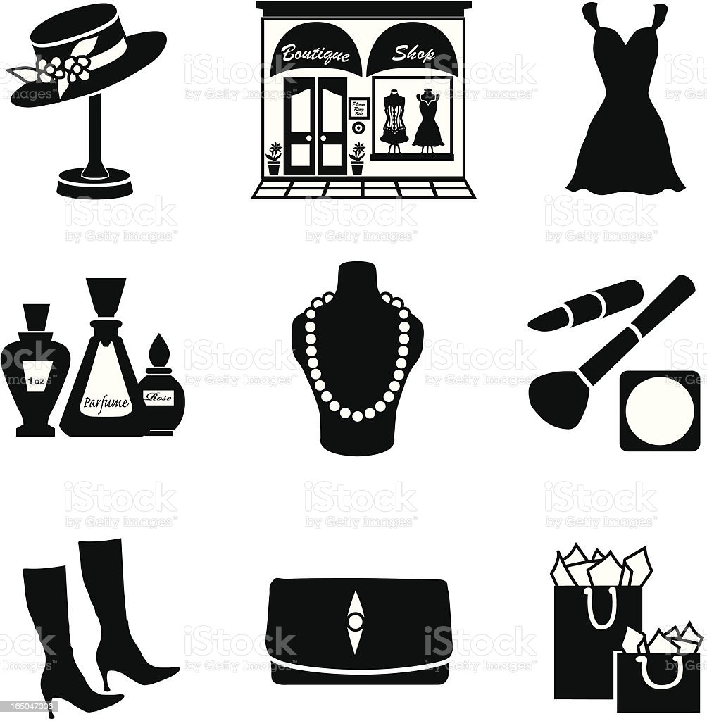 Vector set of glamorous shopping icons in black silhouette vector art illustration