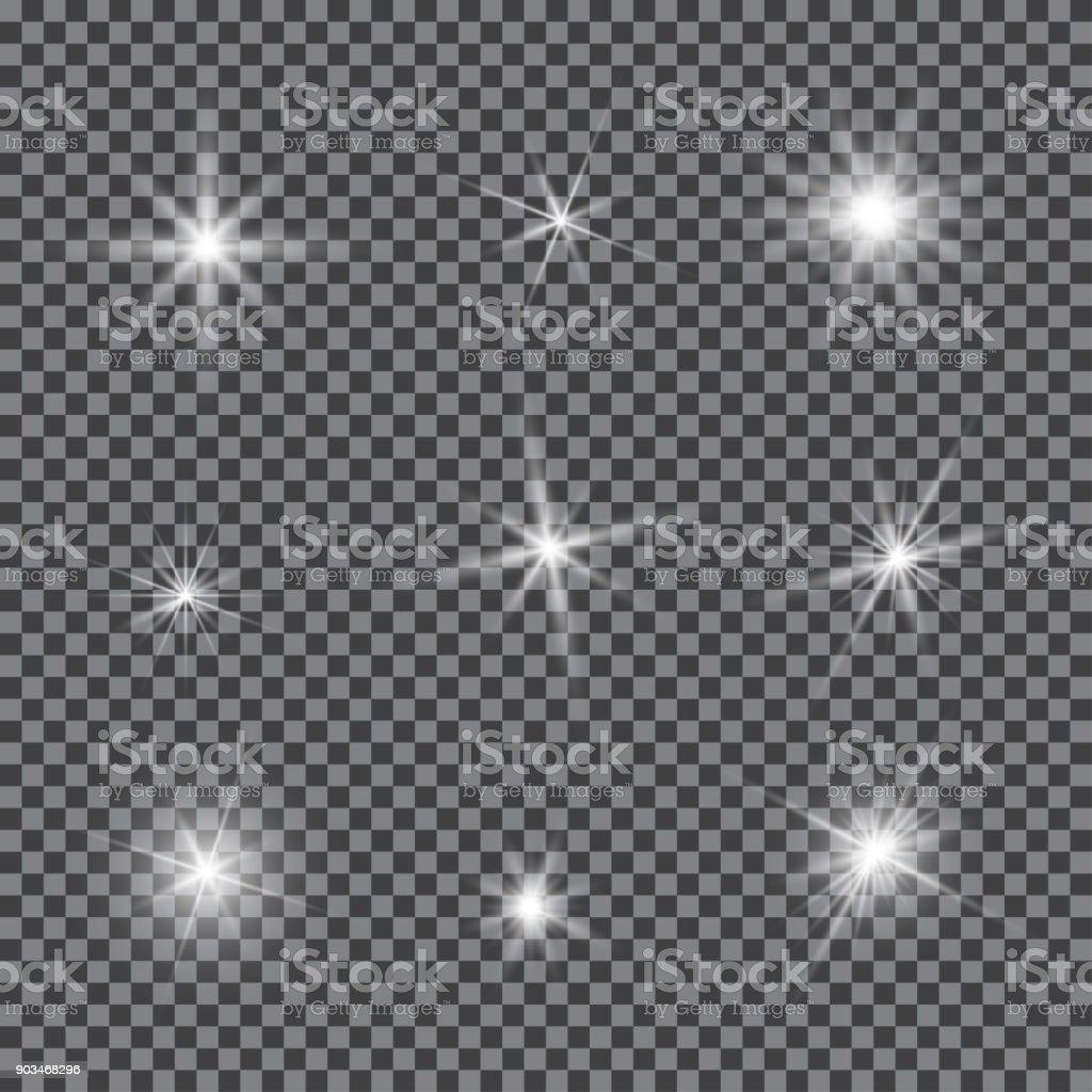 Vector set of glare lighting, twinkle lens flares royalty-free vector set of glare lighting twinkle lens flares stock illustration - download image now