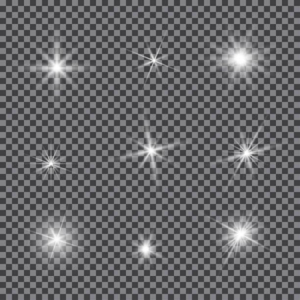 векторный набор бликов освещения, мерцающие вспышки объектива - блестящий stock illustrations