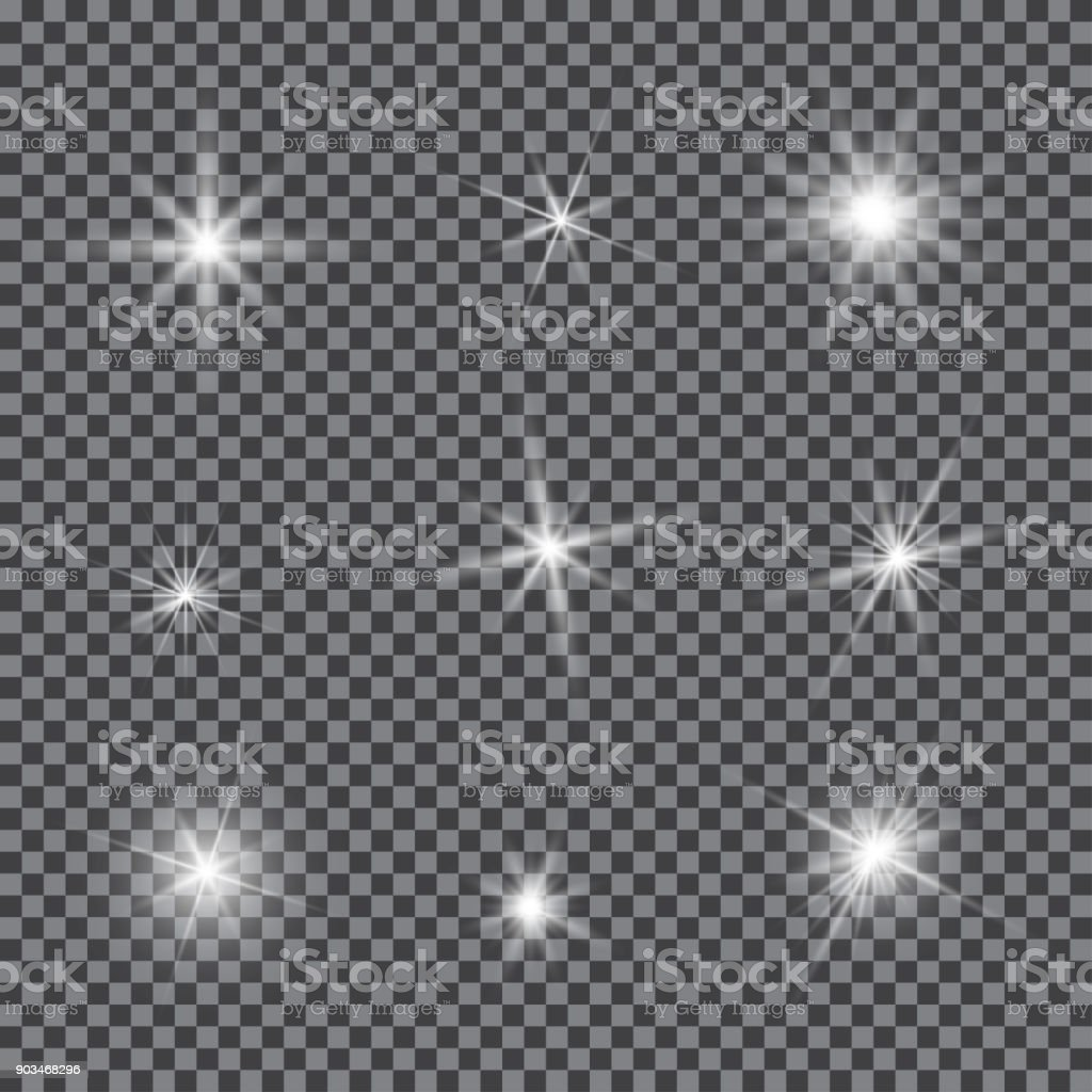 Vector set of glare lighting, twinkle lens flares vector art illustration