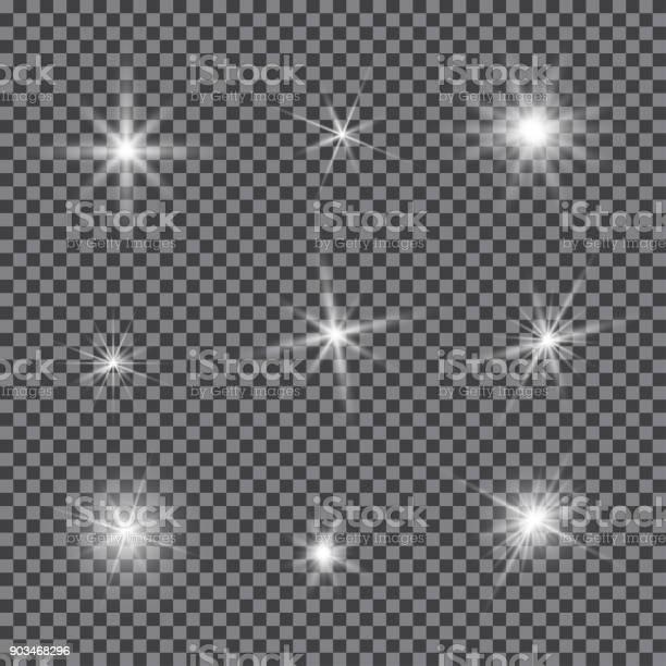 Vector Set Of Glare Lighting Twinkle Lens Flares - Arte vetorial de stock e mais imagens de Amarelo
