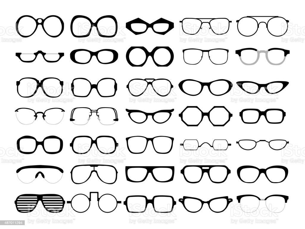 Vector set of glasses. Retro, wayfarer, geek, hipster frames vector art illustration