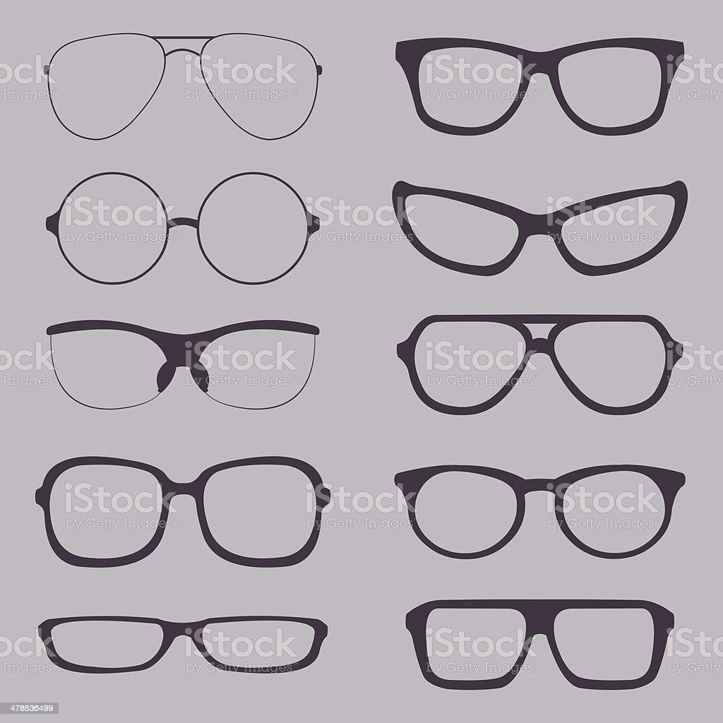 Vector Set of Glasses Silhouettes vector art illustration