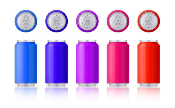 Vektor-Set von glänzend farbigen Aluminiumdosen. Vorlage auf weißem Hintergrund mit Reflexion. Vektor. – Vektorgrafik