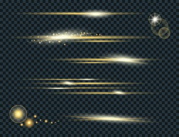 Vector set of glow lightning flare with sparkles isolated on black background. For illustration template art design. Transparent light effects Vector set of glow lightning flare with sparkles isolated on black background. For illustration template art design. Transparent light effects light effect stock illustrations