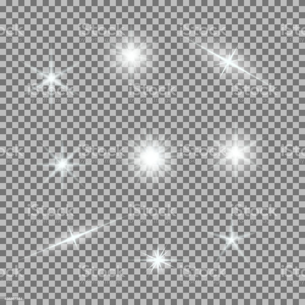 Vector set of glowing light bursts on grey white vector art illustration