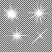 Vector set of glowing light bursts with sparkles on transparent