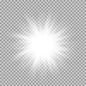 istock Vector set of glowing light bursts with sparkles on transparent 533847518