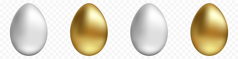 Vector set of gold and silver eggs on a transparent background. Realistic vector Easter eggs for your design. Stock illustration EPS 10