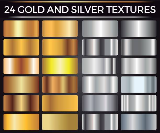 Vector Set of Gold and Silver Gradients, Gold and Silver Squares Collection, Textures Group vector art illustration
