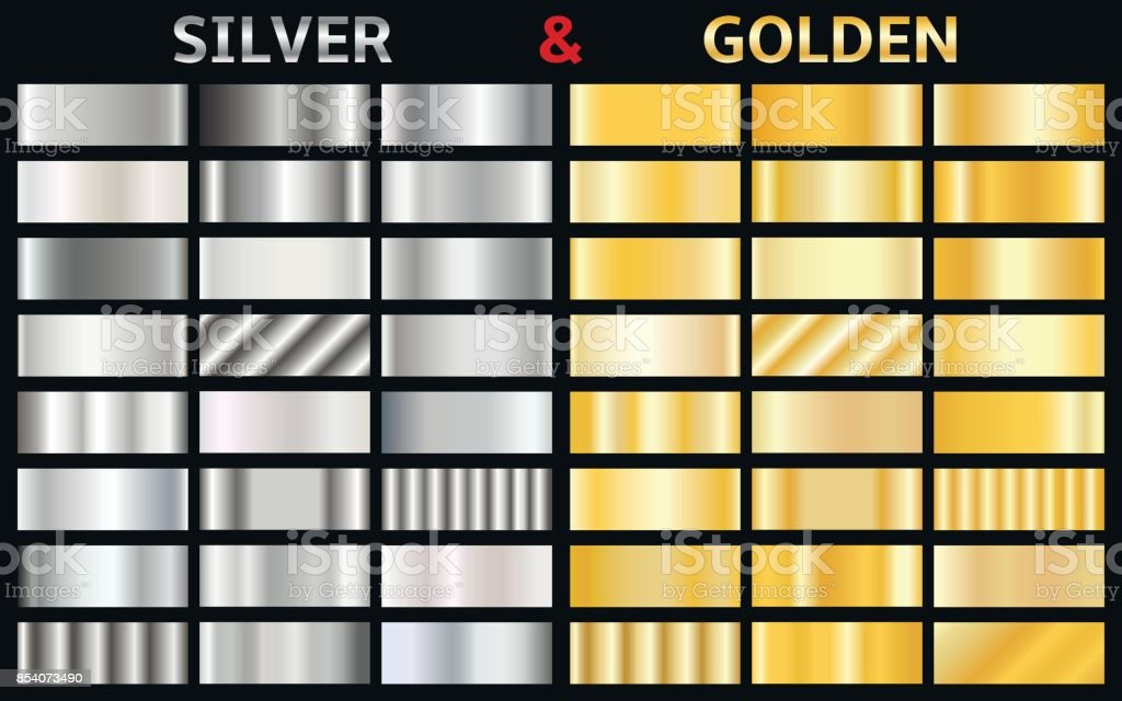 Vector set of gold and silver gradients royalty-free vector set of gold and silver gradients stock illustration - download image now