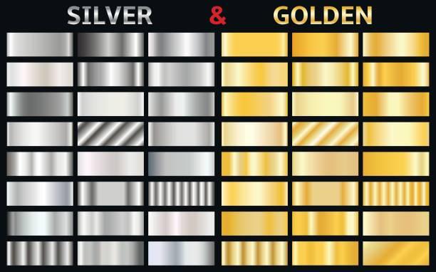 Vektor-Set von gold und Silber Gradienten – Vektorgrafik