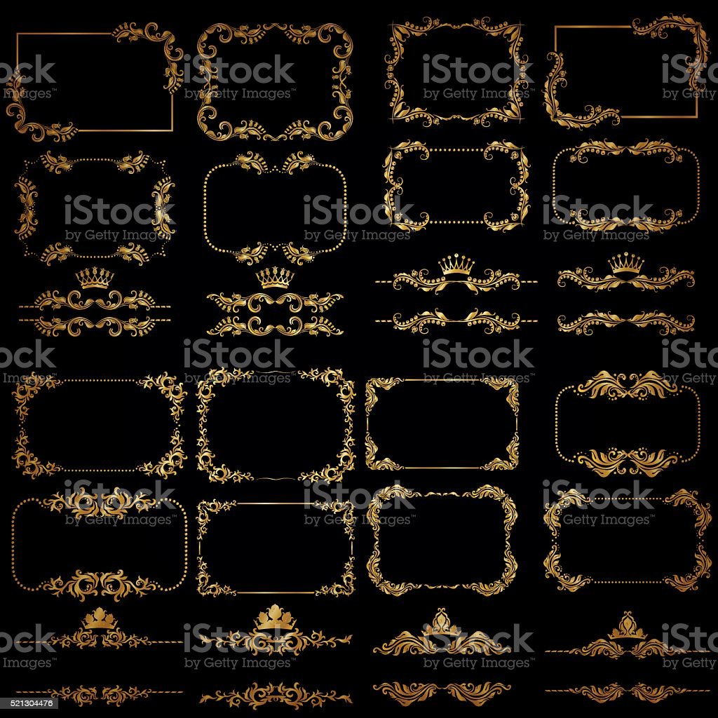 Vector set of gold decorative borders, frame vector art illustration