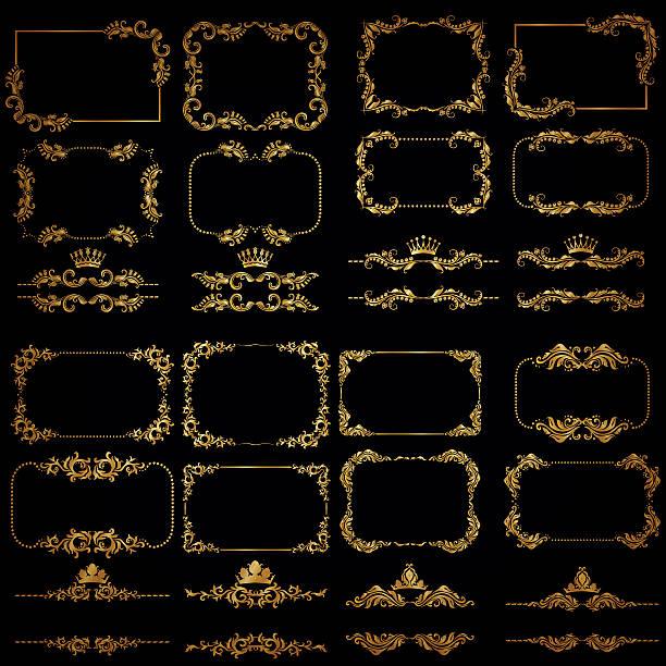 Wektor zestaw złoto dekoracyjne obramowania i rama – artystyczna grafika wektorowa