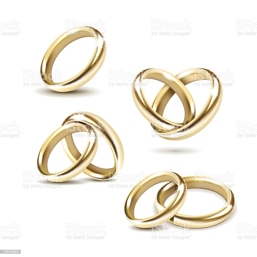 Vector Set of Gold Wedding Rings Isolated on White Background vector art illustration