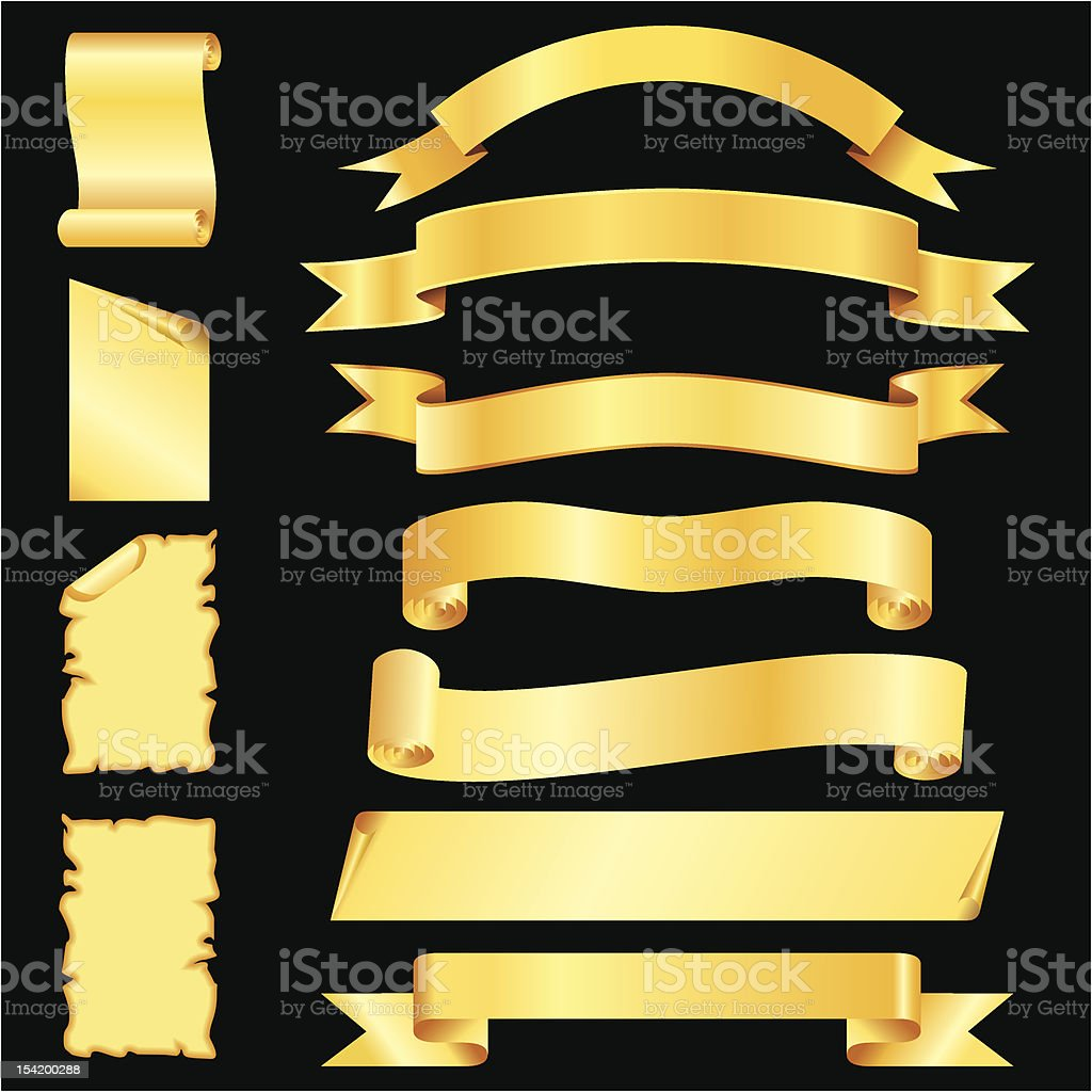 vector set of golden blanked bows, ribbons, banners and pages royalty-free stock vector art