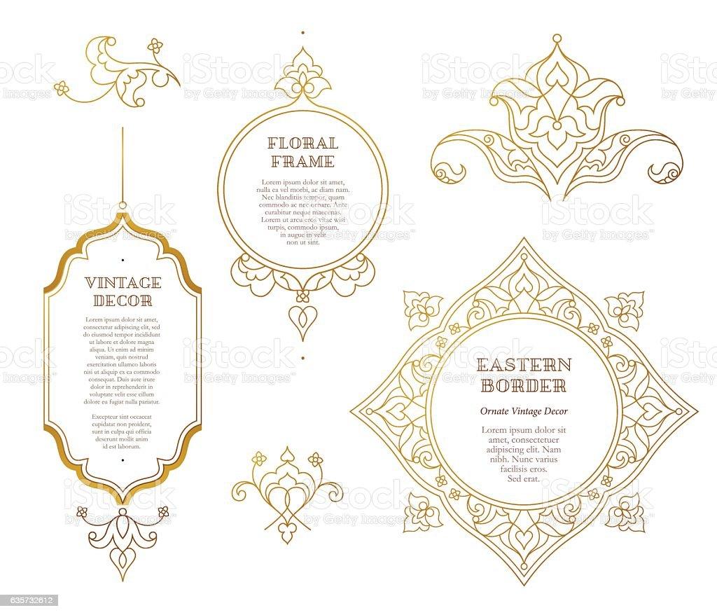 Vector set of golden frames in Eastern style. vector art illustration