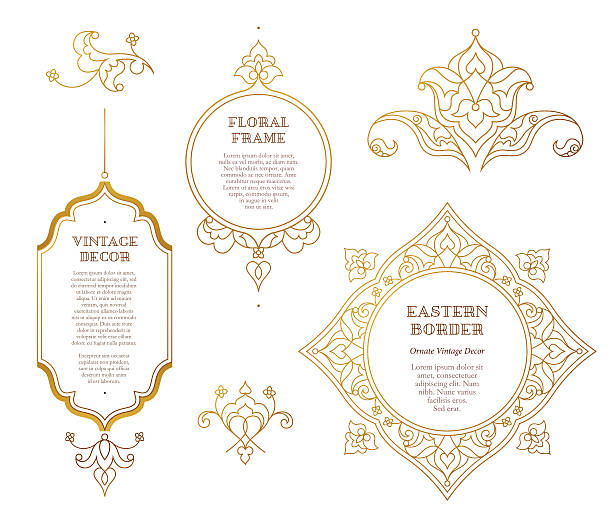 vector set of golden frames in eastern style. - indian stock illustrations, clip art, cartoons, & icons