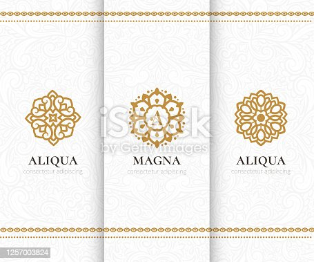 istock Vector set of golden mandala emblems. Elegant, classic elements. Can be used for jewelry, beauty and fashion industry. Great for logo, invitation, flyer, menu, background, or any desired idea. 1257003824