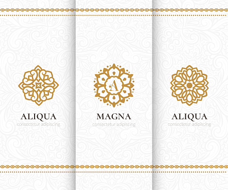 Vector set of golden mandala emblems. Elegant, classic elements. Can be used for jewelry, beauty and fashion industry. Great for logo, invitation, flyer, menu, background, or any desired idea.