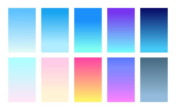 グラデーション背景空カラーパレットのベクトルセット - 夜明け点のイラスト素材/クリップアート素材/マンガ素材/アイコン素材