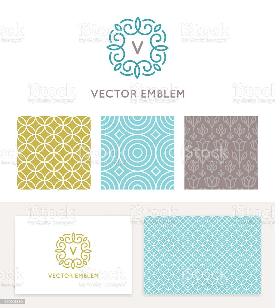 Vector set of graphic design elements and logo design templates vector art illustration