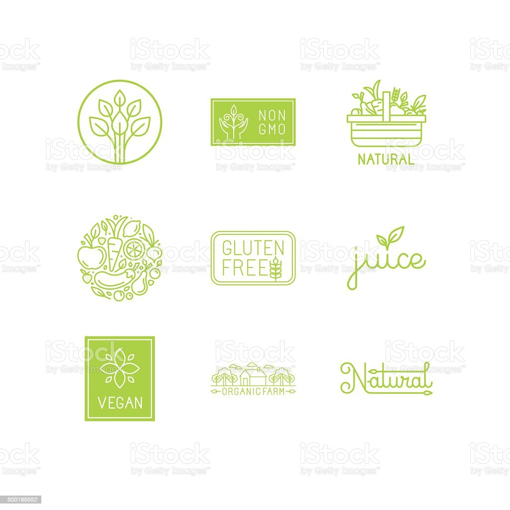 Vector set of green and organic products labels and badges
