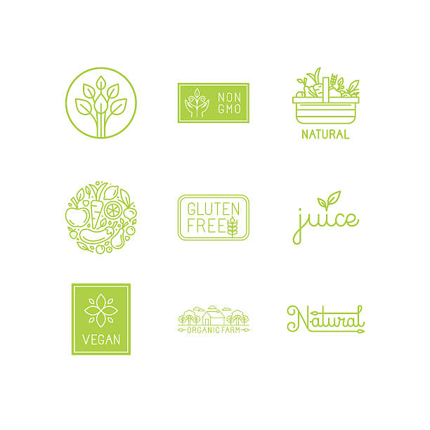 Vector set of green and organic products labels and badges Vector set of green and organic products labels and badges - collection of different icons and illustrations related to fresh and healthy food - part 1 fruit symbols stock illustrations