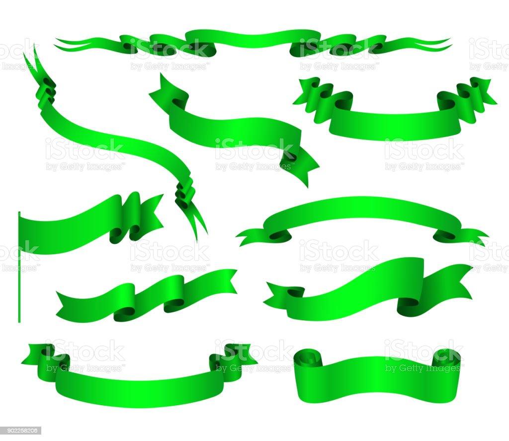 Vector Set Of Green Ribbons vector art illustration