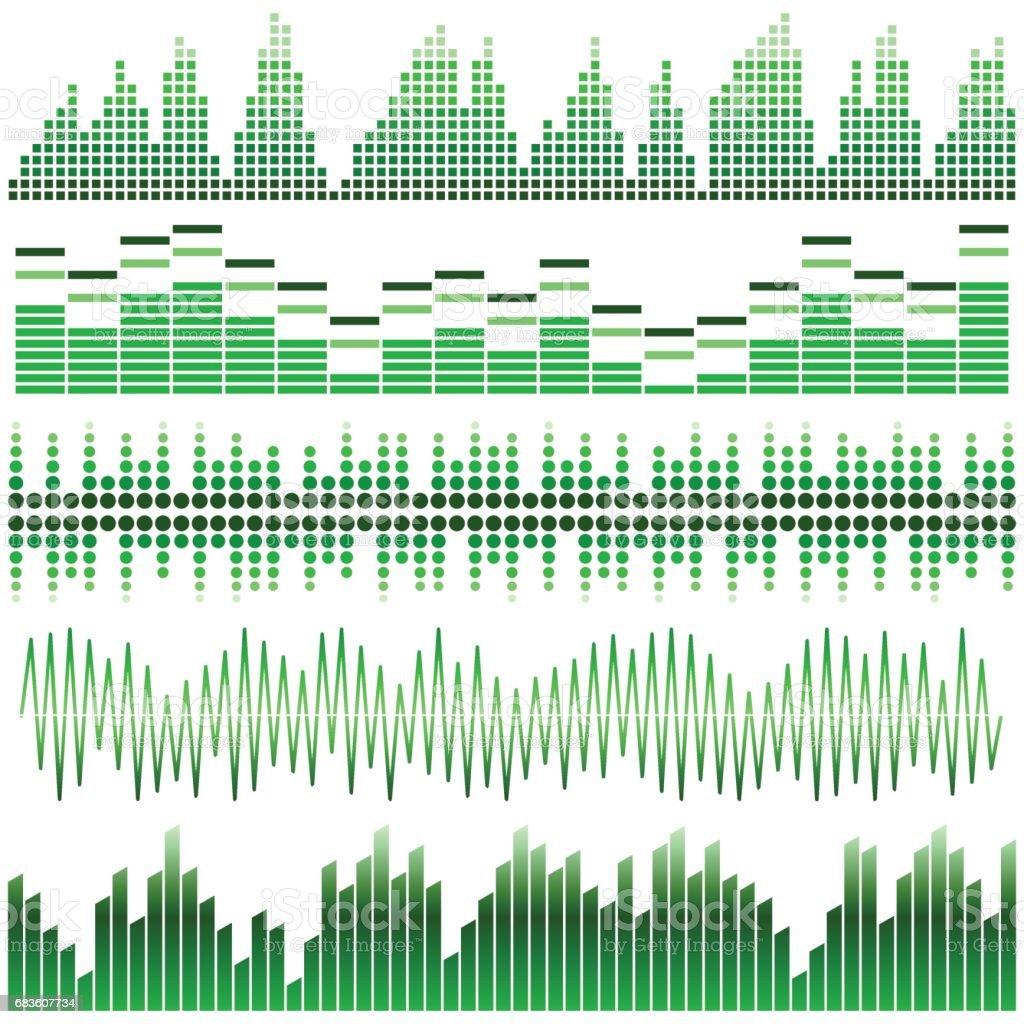 Ilustración de Conjunto De Vector De Ondas De Sonido De Verdes ...