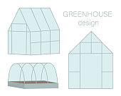 Vector set of greenhouses. Flat hot house illustration isolated on white background. Front and side view greenroom picture. Spring garden illustration.