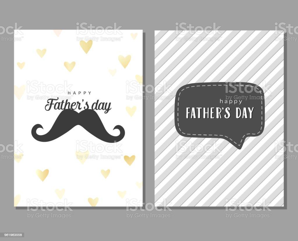 Vektorreihe Von Grußkarten Zum Vatertag Karte Mit Schnurrbart