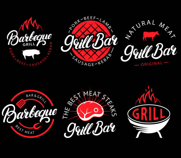Vector set of grill bar and bbq labels in retro style. Vintage grill restaurant emblems, icon, stickers and design elements. Collection of barbecue signs, symbols and icons. Black and red color style vector art illustration