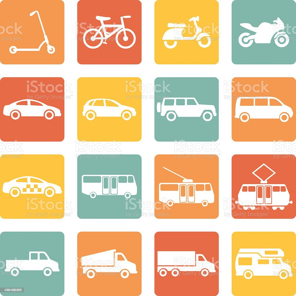 Vector Set of  Ground Transportation Icons vector art illustration