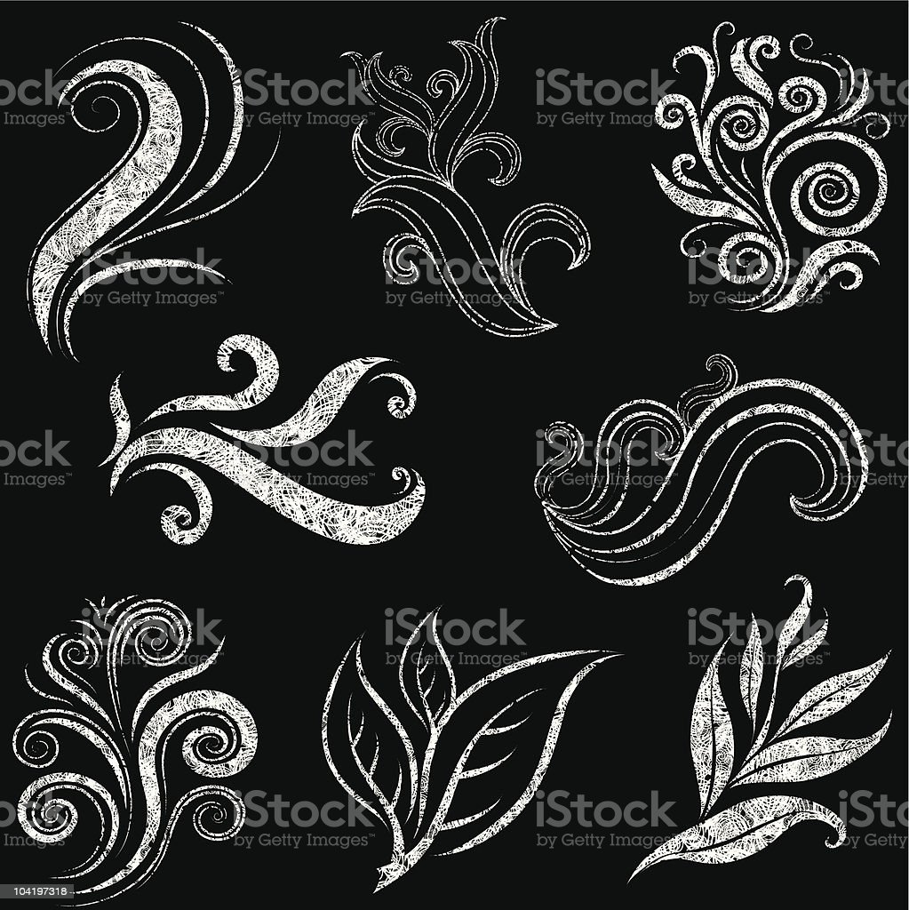 Vector set of grunge leafs and flower design elements royalty-free stock vector art