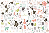 Vector set of grunge retro stickers, doodles, textures and stokes in retro styles in different shapes