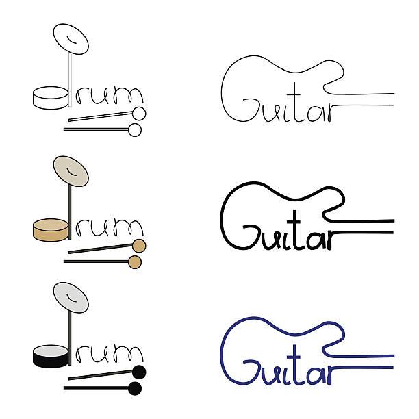 ilustrações, clipart, desenhos animados e ícones de vector set of guitar and drum logos - fontes de tatuagem